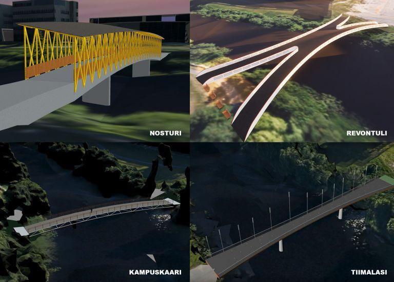 Kollaasi siltasuunnitelmista