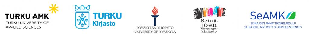 Turun ammattikorkeakoulun, Turun kirjaston, Jyväskylän yliopiston, Seinäjoen kirjaston ja Seinäjoen ammattikorkeakoulun logot.