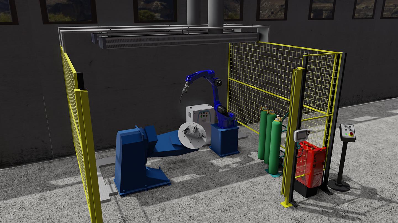 Yaskawan robottihitsaussolun Visual components -simulaatiomalli