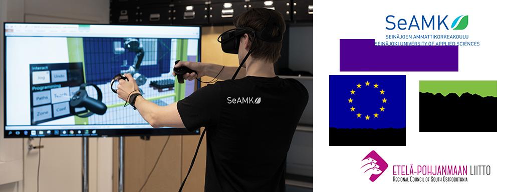 Kuvassa VR-laseja käyttävä henkilö sekä hankkeen rahoittajat esiteltynä SeAMK, Tampereen yliopisto, Euroopan aluekehitysrahaasto, Vipumoimaa Eu:lta sekä Etelä-Pohjanmaan Liitto