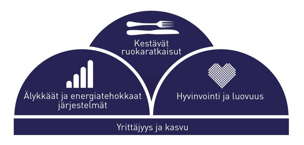 SeAMKin painoalat: kestävät ruokaratkaisut, älykkäät ja energiatehokkaat järjestelmät, hyvinvointi ja luovuus sekä yrittäjyys ja kasvu.