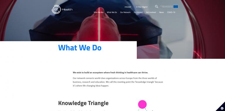 Ruutukaappaus EIT Health -verkoston nettisivuilta.
