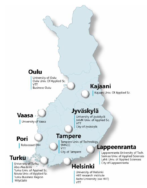 Suomen kartta, jossa AIF-verkoston paikkakunnat Suomessa, ennen SeAMKin ja Into Seinäjoen mukaan liittymistä