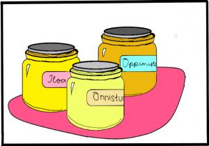 Piirroskuva, jossa kolme hunajapurkkia nimiltään Iloa, Oppimista ja Onnistumisia.