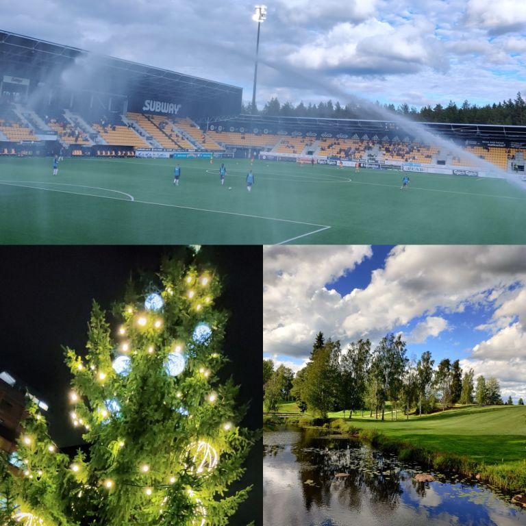 Kuvassa ylhäällä on OmaSp stadion, alhaalla vasemmalla Keskustorin joulukuusi viime vuodelta ja oikealla alhaalla kuva Ruuhikosken golfkentältä