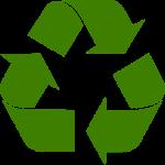 Kierrätysmerkki jossa vihreitä nuolia.
