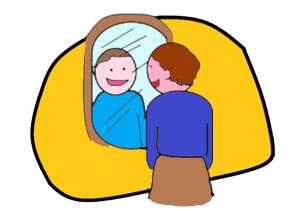 Piirroskuva, jossa henkilö katsoo itseään peilistä.