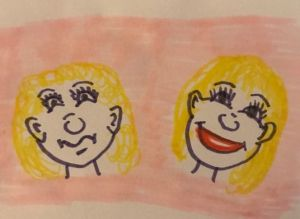 Piirroskuva, jossa kahdet kasvot.