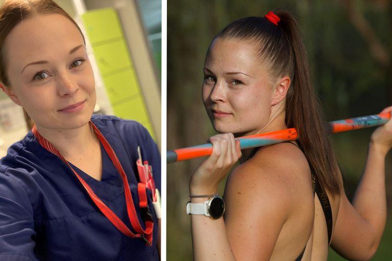 Yhdistelmä kahdesta kuvasta. Vasemmalla puolella nuori nainen terveydenhoitajan työasussa, oikeanpuoleisessa kuvassa sama nainen kannattelee keihästä olkapäillään.