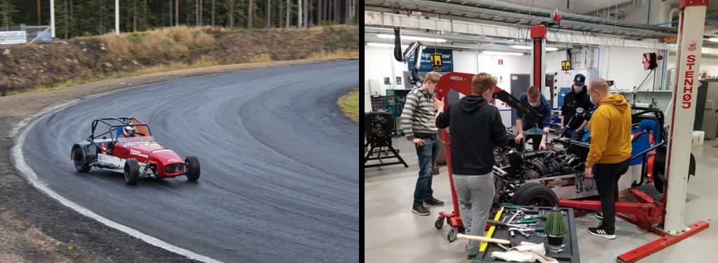 Kaksi kuvaa, joissa kilpa-autolla ajetaan radalla ja kilpa-autoa työstetään autolaboratoriossa.