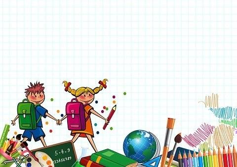 Piirroskuva, jossa kaksi lasta kulkee käsi kädessä.