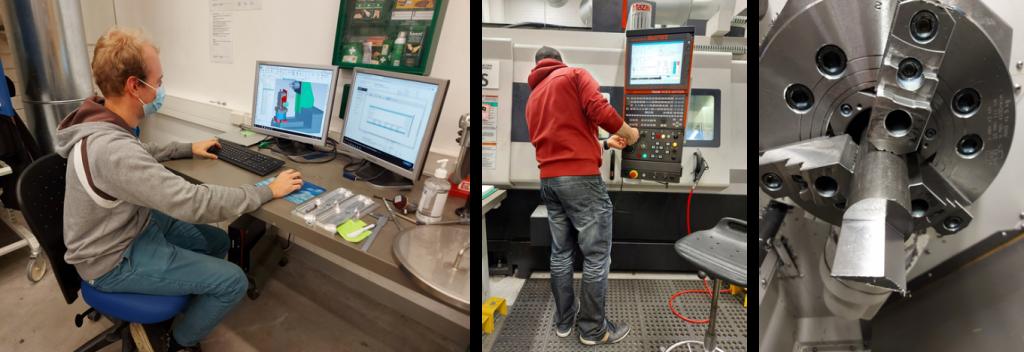 Kolmen kuvaa kollaasi, joissa opiskelija työskentelee tietokoneella, opiskelija valmistaa komponenttia ja komponentti työstökoneessa. ja