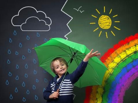 Lapsi ja sateenvarjo.