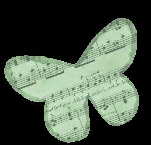 Piirroskuva perhosesta, jonka sisällä on nuottiviivasto.