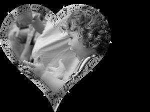 Lapsi sydämenmuotoisen kuvan sisällä.