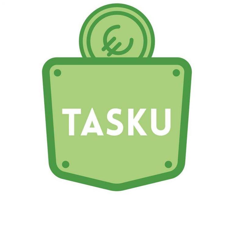 Hankkeen logo. Vihreä euron kolikko menossa vihreään taskuun.