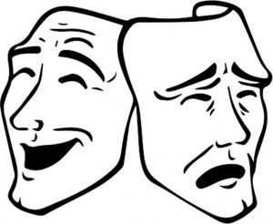 Piirroskuva kahdesta teatterimaskista.
