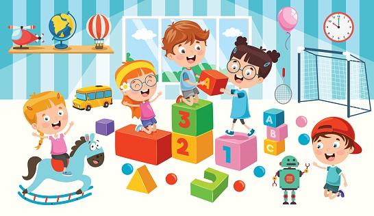 Piirroskuva, jossa lapsia on leikkimässä leluilla.
