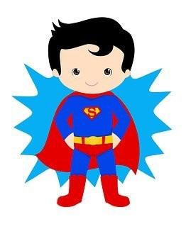 Piirroskuva, jossa lapsi on pukeutunut supermieheksi.