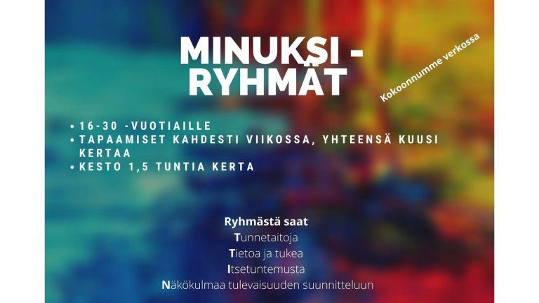 Monivärisellä taustalla valkoisella teksti Minuksi-ryhmät.
