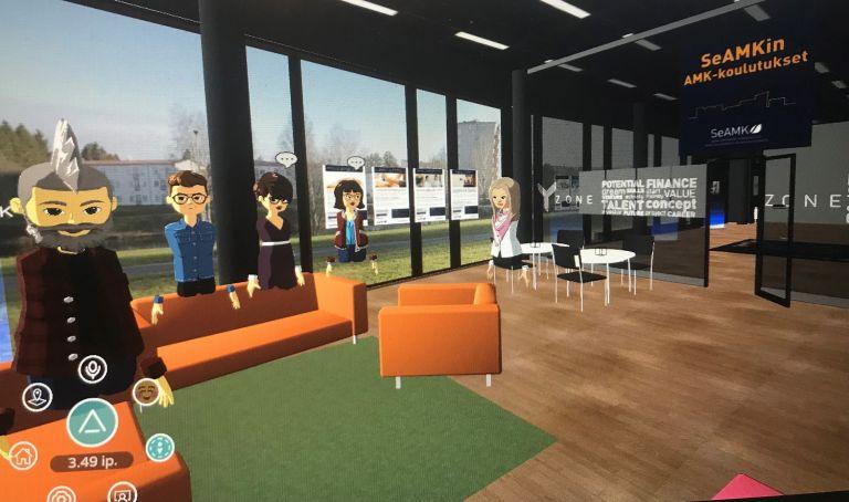 Virtuaalinen tila, jossa seisoo mies- ja nais-avatarhahmoja.