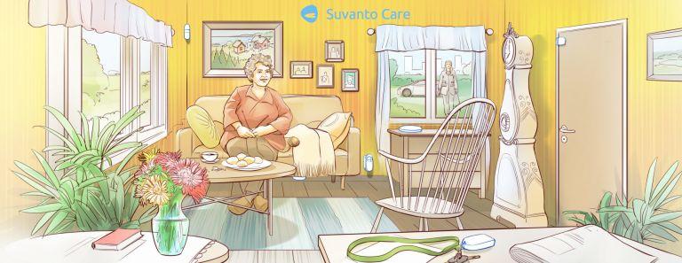 Piirroskuva iäkkäästä naisesta istumassa kotonaan sohvalla.