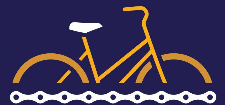 Piirretty oranssi polkupyörä tummansinisellä pohjalla.