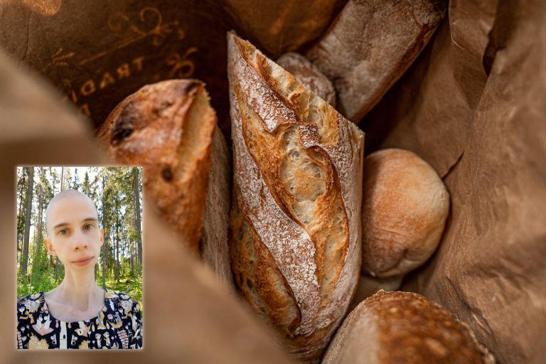 Kuvituskuva, jossa on leipiä paperipussin sisällä ja kuvan reunassa selfiekuva Iida-Mari Sainesta.