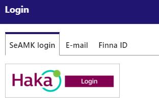 SeAMK-Finna login alternatives.