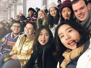 A group of students watching an ice hockey game.