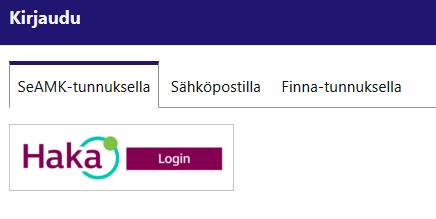 SeAMK-Finnan kirjautumisvaihtoehdot.