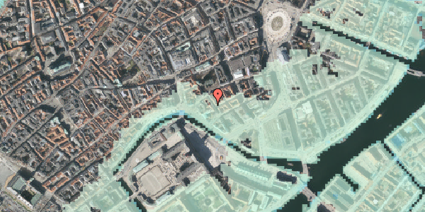 Stomflod og havvand på Admiralgade 22, kl. tv, 1066 København K