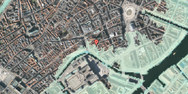 Stomflod og havvand på Fortunstræde 4, kl. , 1065 København K