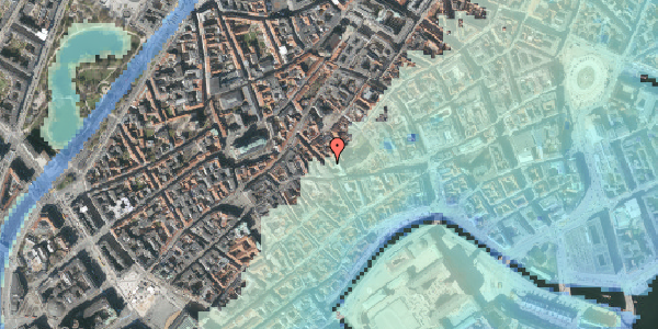 Stomflod og havvand på Klosterstræde 6, 3. , 1157 København K