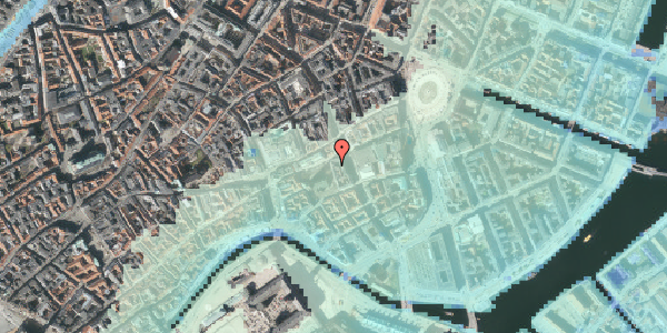 Stomflod og havvand på Nikolaj Plads 5, 3. 6, 1067 København K