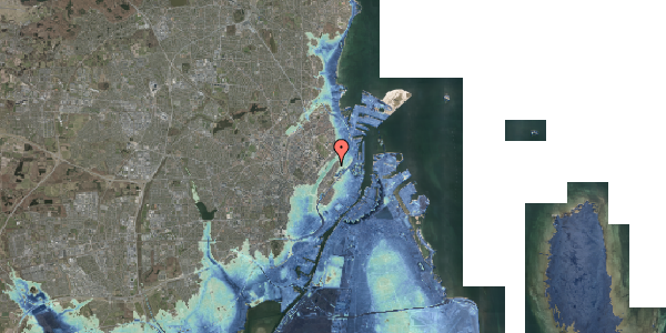 Stomflod og havvand på Voldmestergade 27, 2100 København Ø