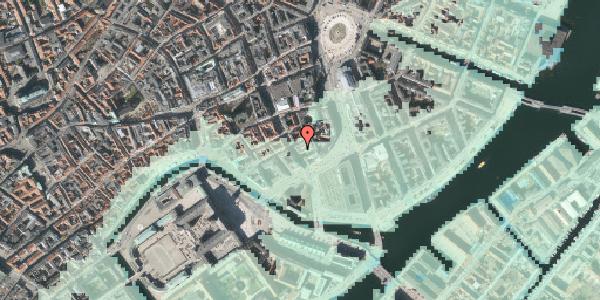Stomflod og havvand på Bremerholm 33, 1069 København K
