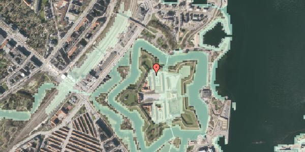 Stomflod og havvand på Kastellet 76, 2100 København Ø