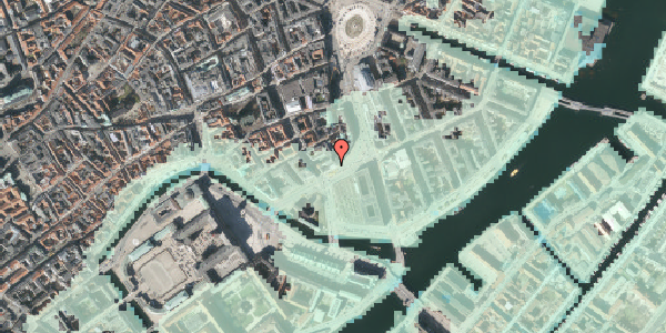 Stomflod og havvand på Holmens Kanal 16, 1060 København K
