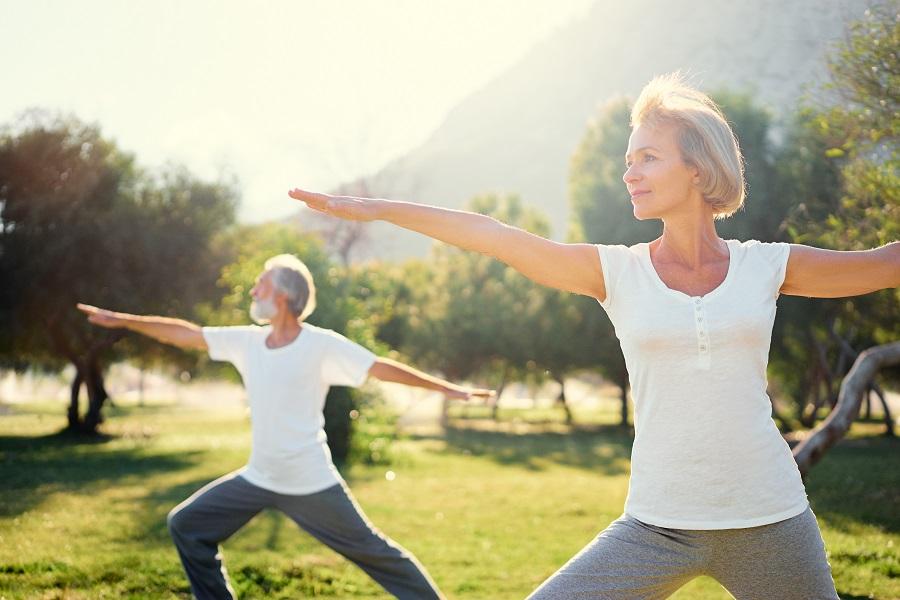 Seniors exercising outside