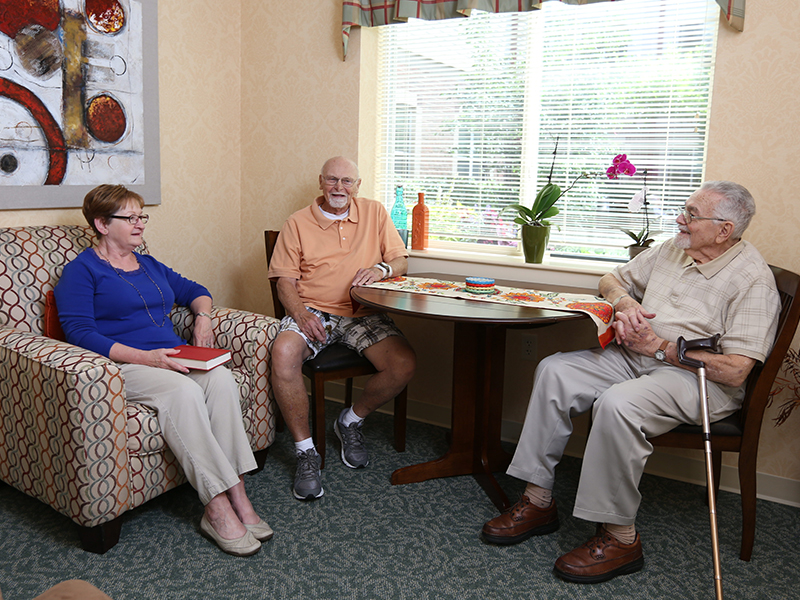 Sedgebrook assisted living residents talking together