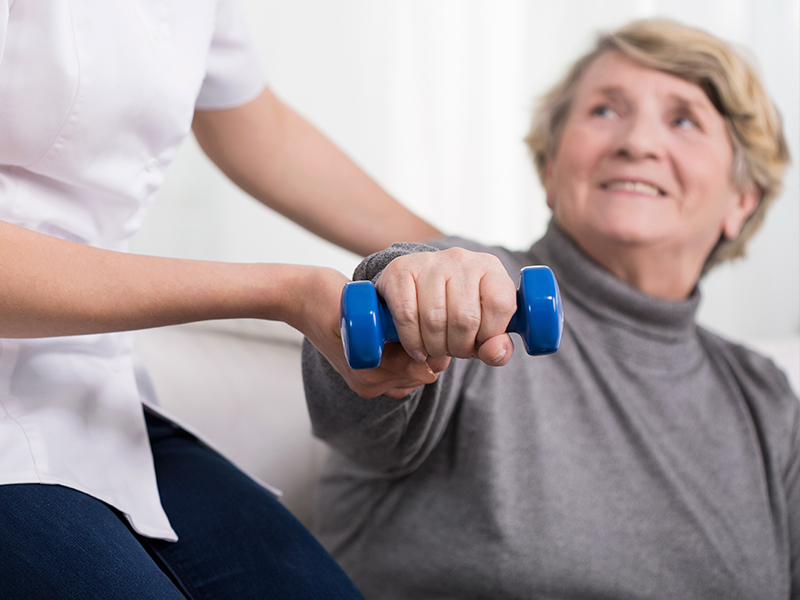 Sedgebrook Rehab Center staff caring for senior resident