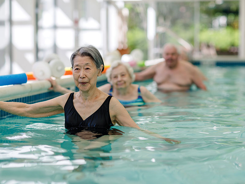 Sedgebrook residents swimming in pool