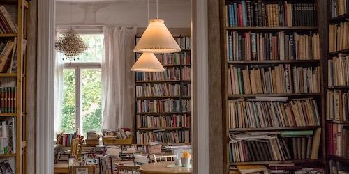 a doorway with bookshelves on either side, and more bookshelves in the room through the door and white lamps hanging overhead