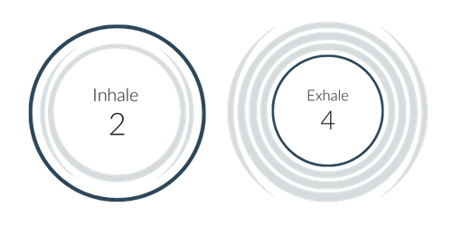 2 circles, left circle reads Inhale 2, right circle reads Exhale 4