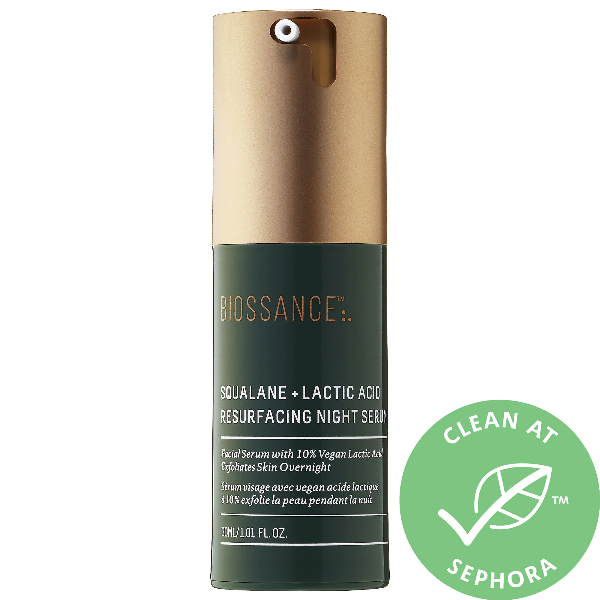 Biossance-Squalane + 10% Lactic Acid Resurfacing Night Serum