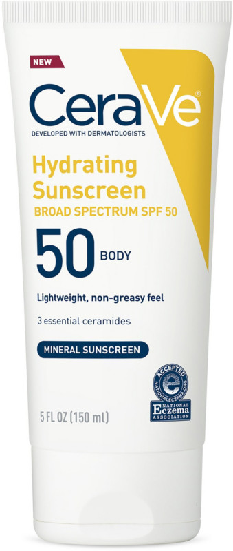 CeraVe Mineral Sunscreen Lotion Spf 50 For Body With Zinc Oxide