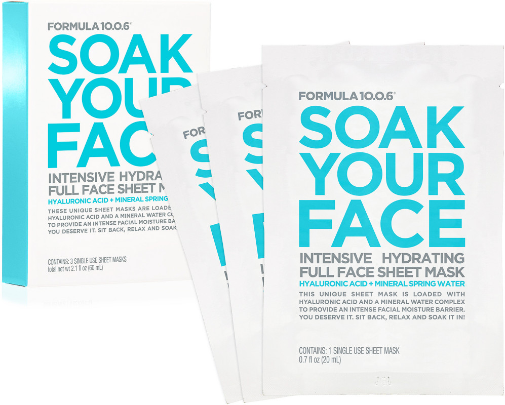 Formula 10.0.6 Online Only Soak Your Face Intensive Hydrating Full Face Sheet Mask
