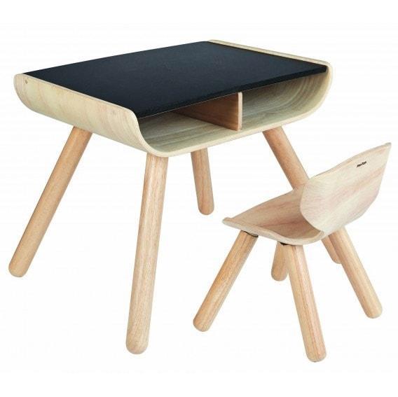 Bord og stol i sort fra Plantoys