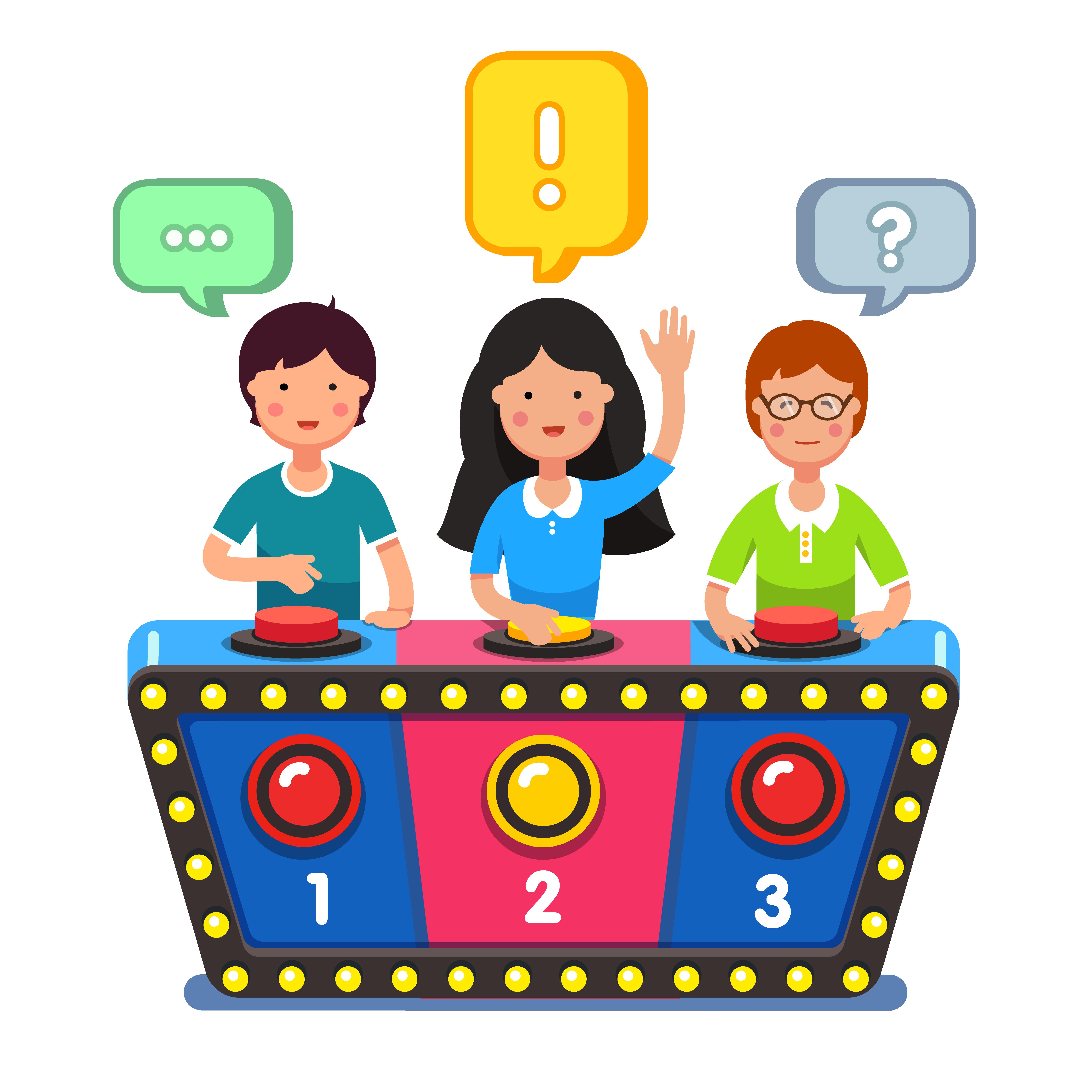 quiz pult med deltagere klar til at quizze